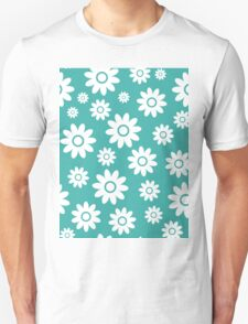 Teal Fun daisy style flower pattern T-Shirt