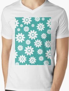 Teal Fun daisy style flower pattern Mens V-Neck T-Shirt