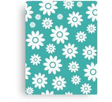 Teal Fun daisy style flower pattern Canvas Print