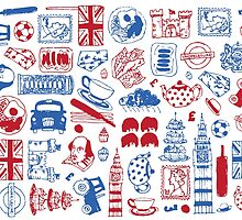 Red, White and Blue UK pattern design by Aimee Stewart