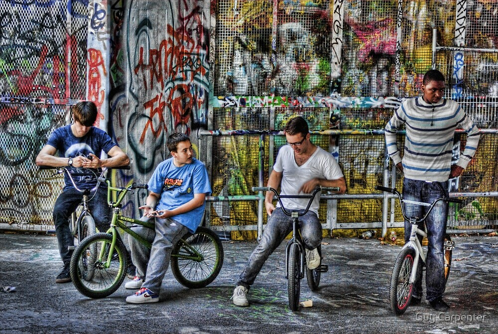 Group of BMX bikers by Guy Carpenter