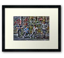Group of BMX bikers Framed Print