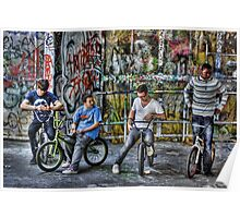Group of BMX bikers Poster