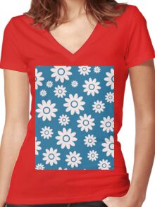 Blue Fun daisy style flower pattern Women's Fitted V-Neck T-Shirt