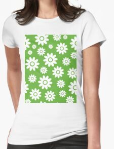 Grass Green Fun daisy style flower pattern Womens Fitted T-Shirt