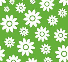 Grass Green Fun daisy style flower pattern by ImageNugget