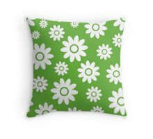 Grass Green Fun daisy style flower pattern Throw Pillow