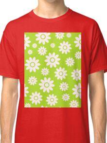Lime Green Fun daisy style flower pattern Classic T-Shirt