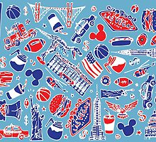 Colourful USA illustration pattern by Aimee Stewart