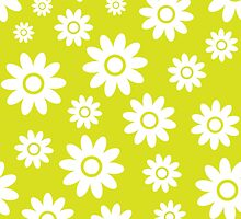 Chartreuse Fun daisy style flower pattern by ImageNugget