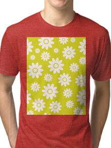 Chartreuse Fun daisy style flower pattern Tri-blend T-Shirt