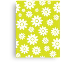 Chartreuse Fun daisy style flower pattern Canvas Print