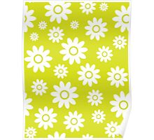Chartreuse Fun daisy style flower pattern Poster