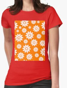 Orange Fun daisy style flower pattern Womens Fitted T-Shirt