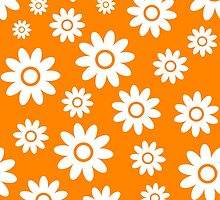 Orange Fun daisy style flower pattern by ImageNugget