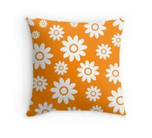 Orange Fun daisy style flower pattern Throw Pillow
