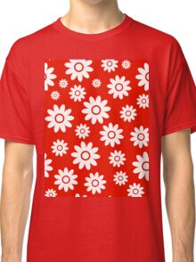 Red Fun daisy style flower pattern Classic T-Shirt