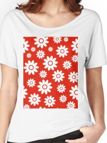 Red Fun daisy style flower pattern Women's Relaxed Fit T-Shirt