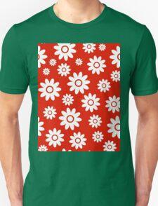 Red Fun daisy style flower pattern T-Shirt