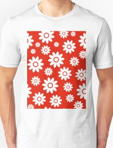 Red Fun daisy style flower pattern T-Shirt