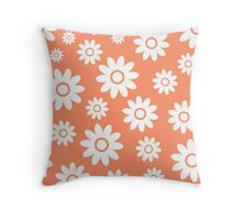 Coral Fun daisy style flower pattern Throw Pillow