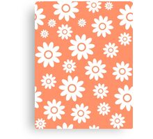 Coral Fun daisy style flower pattern Canvas Print
