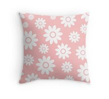 Light Pink Fun daisy style flower pattern Throw Pillow