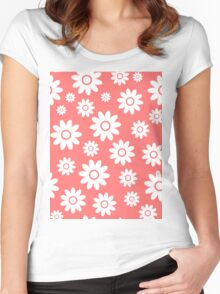 Pink Fun daisy style flower pattern Women's Fitted Scoop T-Shirt
