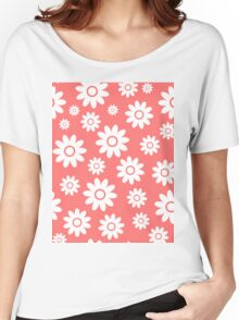 Pink Fun daisy style flower pattern Women's Relaxed Fit T-Shirt