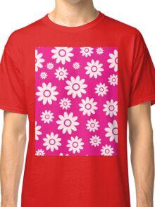 Hot Pink Fun daisy style flower pattern Classic T-Shirt