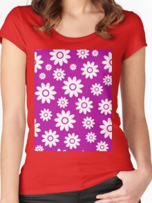 Magenta Fun daisy style flower pattern Women's Fitted Scoop T-Shirt