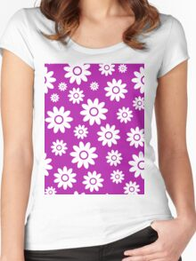 Magenta Fun daisy style flower pattern Women's Fitted Scoop T-Shirt