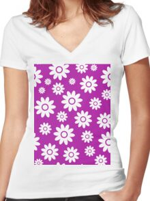 Magenta Fun daisy style flower pattern Women's Fitted V-Neck T-Shirt