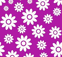 Magenta Fun daisy style flower pattern by ImageNugget