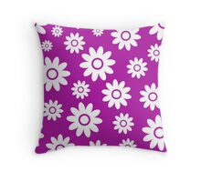 Magenta Fun daisy style flower pattern Throw Pillow