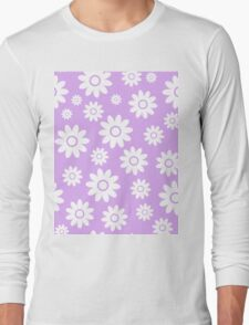 Lilac Fun daisy style flower pattern Long Sleeve T-Shirt