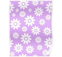 Lilac Fun daisy style flower pattern Poster
