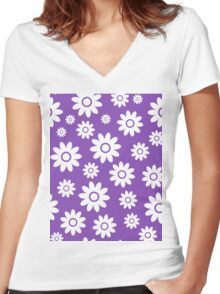 Light Purple Fun daisy style flower pattern Women's Fitted V-Neck T-Shirt