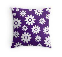 Purple Fun daisy style flower pattern Throw Pillow