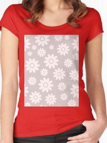 Light Grey Fun daisy style flower pattern Women's Fitted Scoop T-Shirt