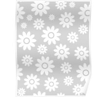 Light Grey Fun daisy style flower pattern Poster