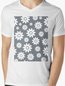 Cool Grey Fun daisy style flower pattern Mens V-Neck T-Shirt