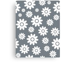 Cool Grey Fun daisy style flower pattern Canvas Print