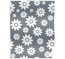 Cool Grey Fun daisy style flower pattern Poster