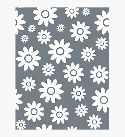 Cool Grey Fun daisy style flower pattern Photographic Print