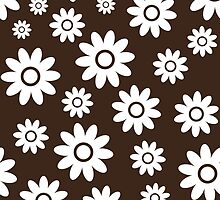 Chocolate Fun daisy style flower pattern by ImageNugget