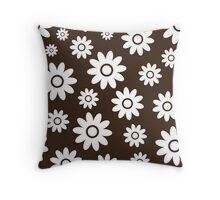 Chocolate Fun daisy style flower pattern Throw Pillow