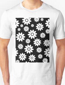 Black Fun daisy style flower pattern Unisex T-Shirt