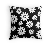 Black Fun daisy style flower pattern Throw Pillow