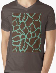 Blue Brown Leopard Skin Texture Mens V-Neck T-Shirt